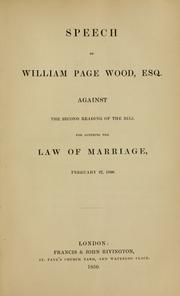 Cover of: Speech of William Page Wood, Esq