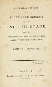 Cover of: Historical account of the rise and progress of the English stage