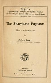 Cover of: Stonyhurst pageants | Carleton Fairchild Brown