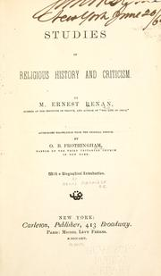 Cover of: Studies of religious history and criticism