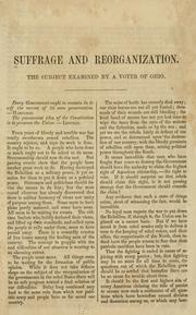 Cover of: Suffrage and reorganization. |