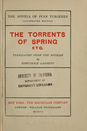 Cover of: The torrents of spring, etc.