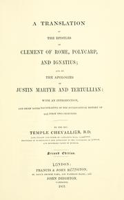 Cover of: Translation of the epistles of Clement of Rome, Polycarp and Ignatius, and of the apologies of Justin Martyr and Tertullian