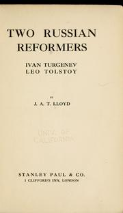 Cover of: Two Russian reformers, Ivan Turgenev, Leo Tolstoy