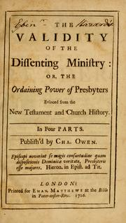 Cover of: The Validity of the Dissenting ministry | James Owen