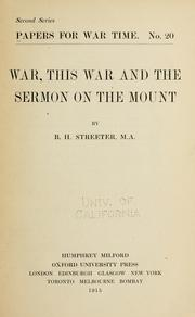 Cover of: War, this war and the sermon on the mount