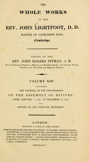 Cover of: The whole works of the rev. John Lightfoot
