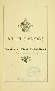 Cover of: William Blackstone, Boston's first inhabitant