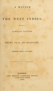 Cover of: A winter in the West Indies | Gurney, Joseph John
