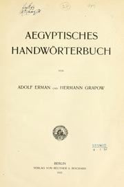 Cover of: Aegyptisches handwörterbuch | Adolf Erman