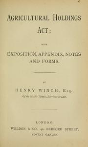 Cover of: Agricultural Holdings Act | Henry Winch