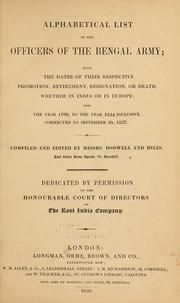 Cover of: Alphabetical list of the officers of the Bengal army