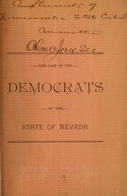Cover of: The case of the Democrats of the state of Nevada. |