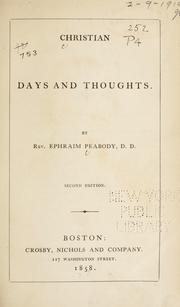Cover of: Christian days and thoughts