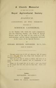 Cover of: A church memorial of the visit of the Royal Agriculutral Society to Norwich