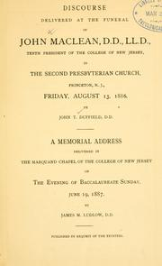 Cover of: Discourse delivered at the funeral of John Maclean, D.D., LL. D. | John Thomas Duffield