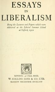 Cover of: Essays in liberalism |