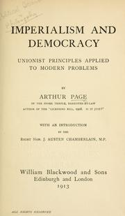 Cover of: Imperialism and democracy | Page, Arthur Sir