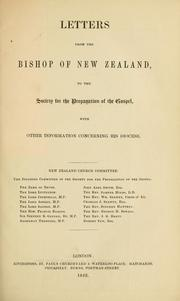 Cover of: Letters from the Bishop of New Zealand