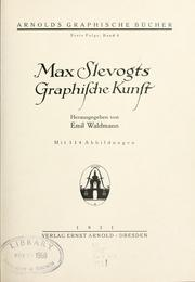 Cover of: Max Slevogts graphische Kunst