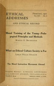 Cover of: Moral training of the young -