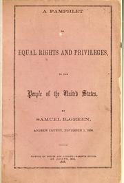 Cover of: A pamphlet on equal rights and privileges | Samuel B. Green
