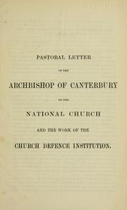 Cover of: Pastoral letter of the Archbishop of Canterbury | Church of England. Diocese of Canterbury. Archbishop (1868-1882 : Tait)