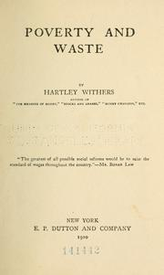 Poverty and waste by Withers, Hartley