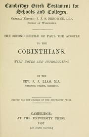 Cover of: second epistle of Paul the apostle to the Corinthians | J. J. Lias