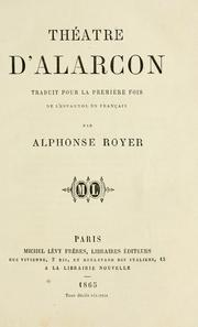 Cover of: Théatre d'Alarcon