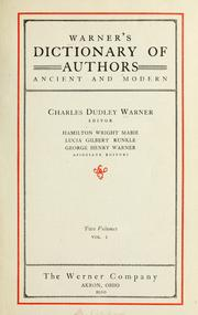 Cover of: Warner's dictionary of authors ancient and modern