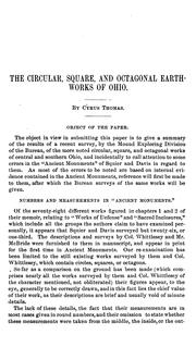 Cover of: The circular, square, and octagonal earthworks of Ohio