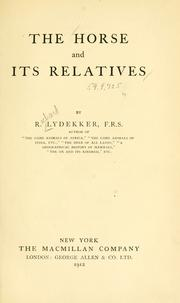 Cover of: The horse and its relatives