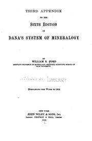 Cover of: Third appendix to the 6th ed. of Dana's System of mineralogy by William Ebenezer Ford