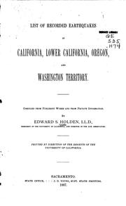 Cover of: List of recorded earthquakes in California, lower California, Oregon, and Washington Territory