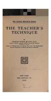 Cover of: The teacher's technique