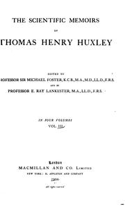 Cover of: The scientific memoirs of Thomas Henry Huxley