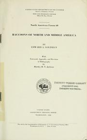 Cover of: Raccoons of North and middle America. | Edward Alphonso Goldman