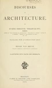 Cover of: Discourses on architecture