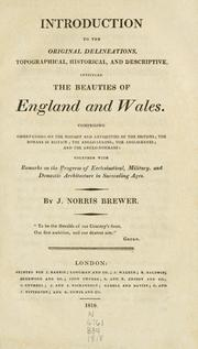 Cover of: Introduction to the original delineations, topographical, historical, and descriptive, intituled the Beauties of England and Wales by Brewer, J. N.