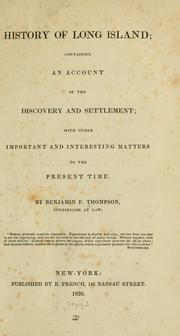 Cover of: History of Long island | Benjamin Franklin Thompson