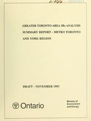 Greater Toronto Area 3Rs analysis by M.M. Dillon Limited.