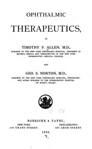 Cover of: Ophthalmic therapeutics | Timothy Field Allen