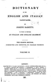 Cover of: A dictionary of the English and Italian languages