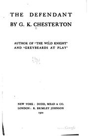 Cover of: The defendant by G. K. Chesterton