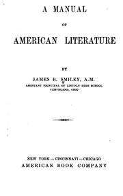 Cover of: manual of American literature | James Brady Smiley