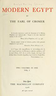 Modern Egypt by Cromer, Evelyn Baring Earl of
