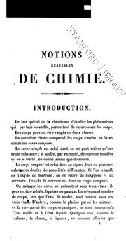 Cover of: Notions générales de chimie