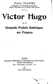 Cover of: Victor Hugo et la grande poésie satirique en France