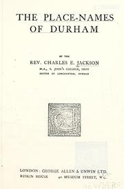 Cover of: place-names of Durham | Charles E. Jackson